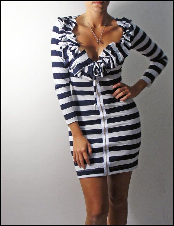 Venni Caprice Nautical Zip up Dress  XS by VenniCaprice on Etsy, $125.00