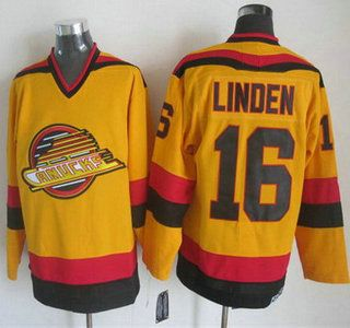 Vancouver Canucks Jersey 16 Trevor Linden 1985-86 Yellow CCM Vintage Throwback Jerseys