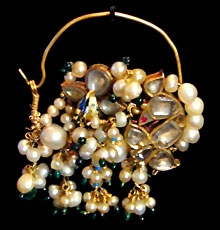 basra pearl and uncut diamond nath (nose ring) ..... can be made to earrings!!