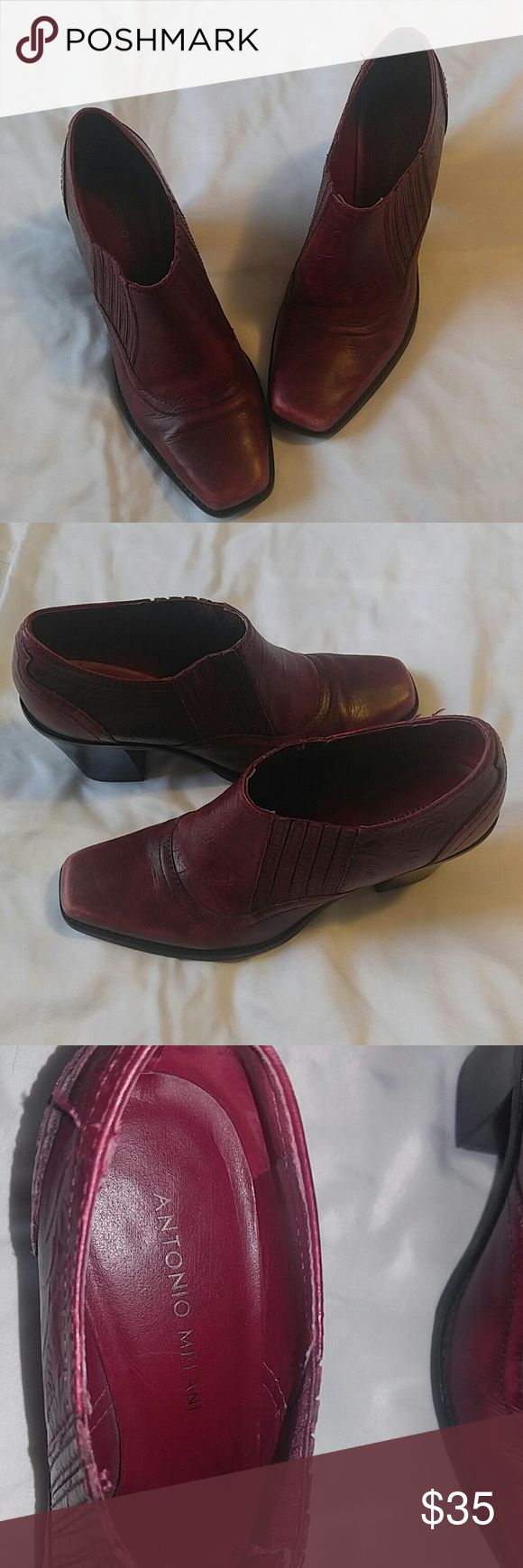 Antonio Melani leather ankle boots shoes Burgundy ankle boots hardly worn in size 6M ANTONIO MELANI Shoes Ankle Boots & Booties