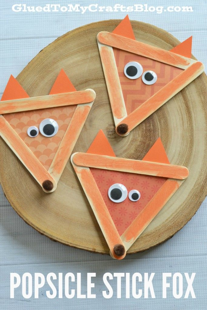 Popsicle Stick Fox - Kid Craft - Use these to decorate a bulletin board in your fox theme classroom!