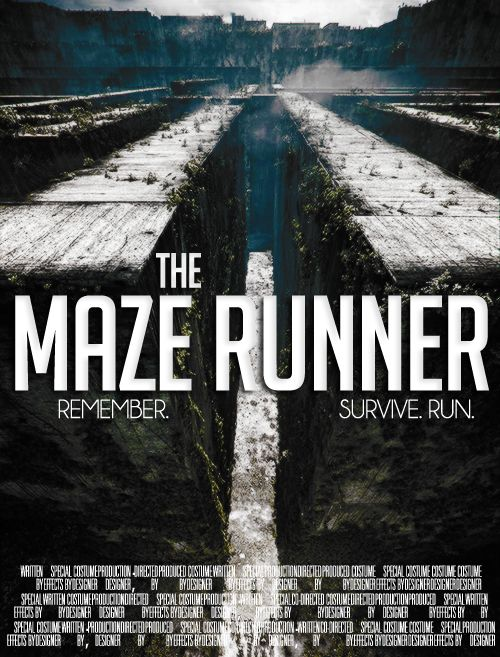 The Maze Runner- Movie in theatres September 19, 2014 Based on the first book of the Maze Runner Trilogy, by James Dashner. Okay so I didn't get to see this today bc of my cross country meet(haha how ironic)  Anyways, I read all four books in 5 days in about the end of July or begging of August AND LOVED THEM! So please let me know if the movie is wort seeing! Please comment! Stay strong. Beatrice Marie
