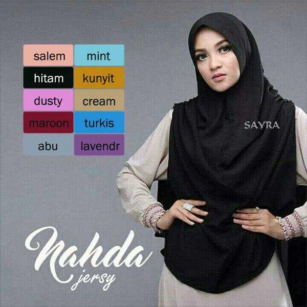 Jilbab Syar'i Khimar Nahda Model Hijab Terbaru 2017 stok warna Jilbab: - Salem - Mint - Hitam (on model) - Kunyit - Dusty - Cream - Maroon - Turkish - Abu