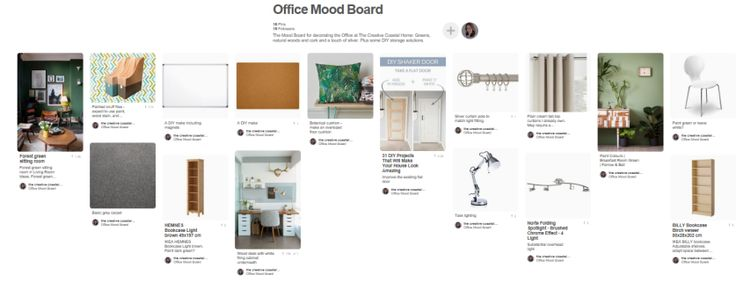 Home Office Mood Board using upcycling and shopping the home