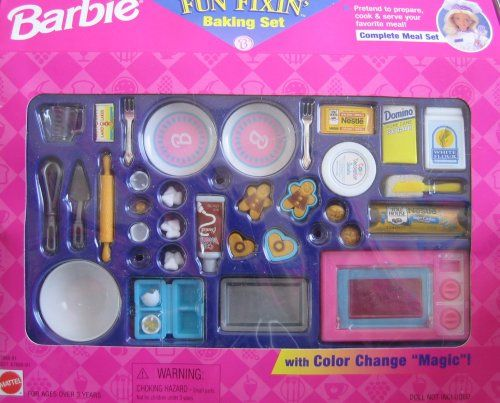 "Barbie Fun Fixin' Baking Set w Color Change ""Magic""! (1997 Arcotoys, Mattel) Barbie http://www.amazon.com/dp/B0029NGP28/ref=cm_sw_r_pi_dp_SiBXtb0A5QSABC8Q"