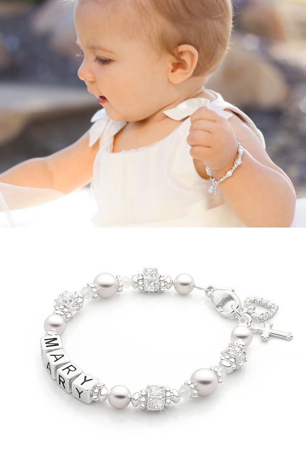 Crowned in Heaven Christening / Baptism Name Bracelet.     Gorgeous Christening or Baptism Gift for a Baby Girl. Bracelet is available in over 10 different sizes to fit her just perfectly. Choose from natural pink or white real cultured pearls in AAA-Grade. High-end materials throughout.