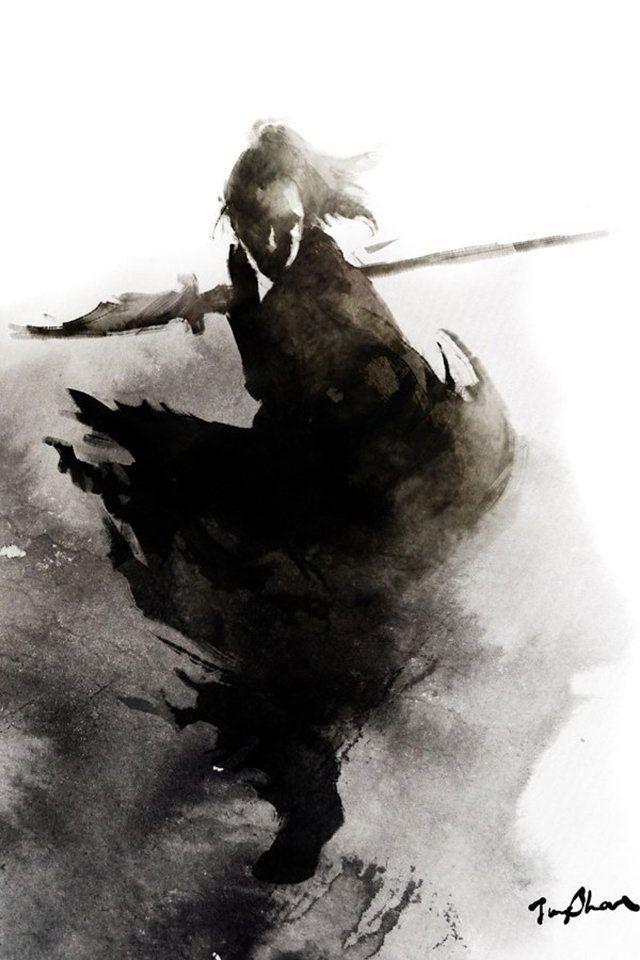 female chinese warrior brush painting - Google Search