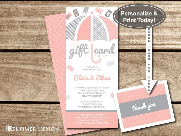 Gift Card Shower Invitation, Gift Card Baby Shower, Baby Shower, Girl, Umbrella, Pink, Gray, Blush, DIY Word Template, +Thank You Cards by DeReimerDeSign on Etsy https://www.etsy.com/listing/266663652/gift-card-shower-invitation-gift-card