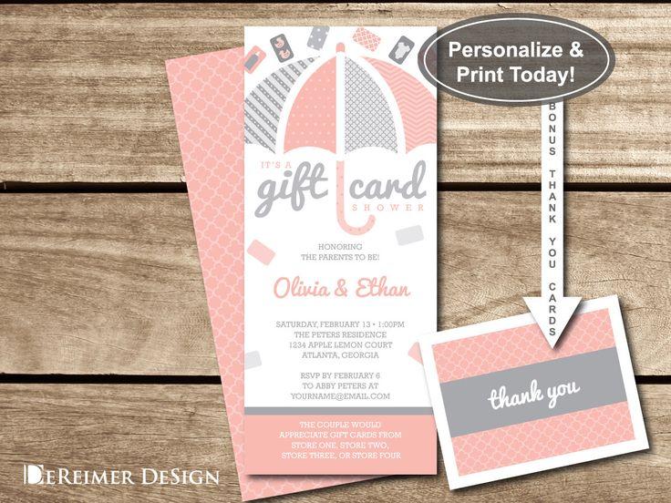 Wedding Gift Wording Ideas: Gift Card Shower Invitation, Gift Card Baby Shower, Baby