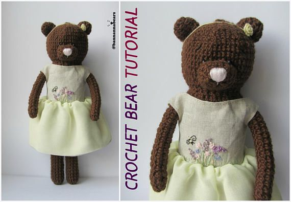 Easy crochet bear Amigurumi pattern How to crochet bear toy Tutorial pdf Crochet…