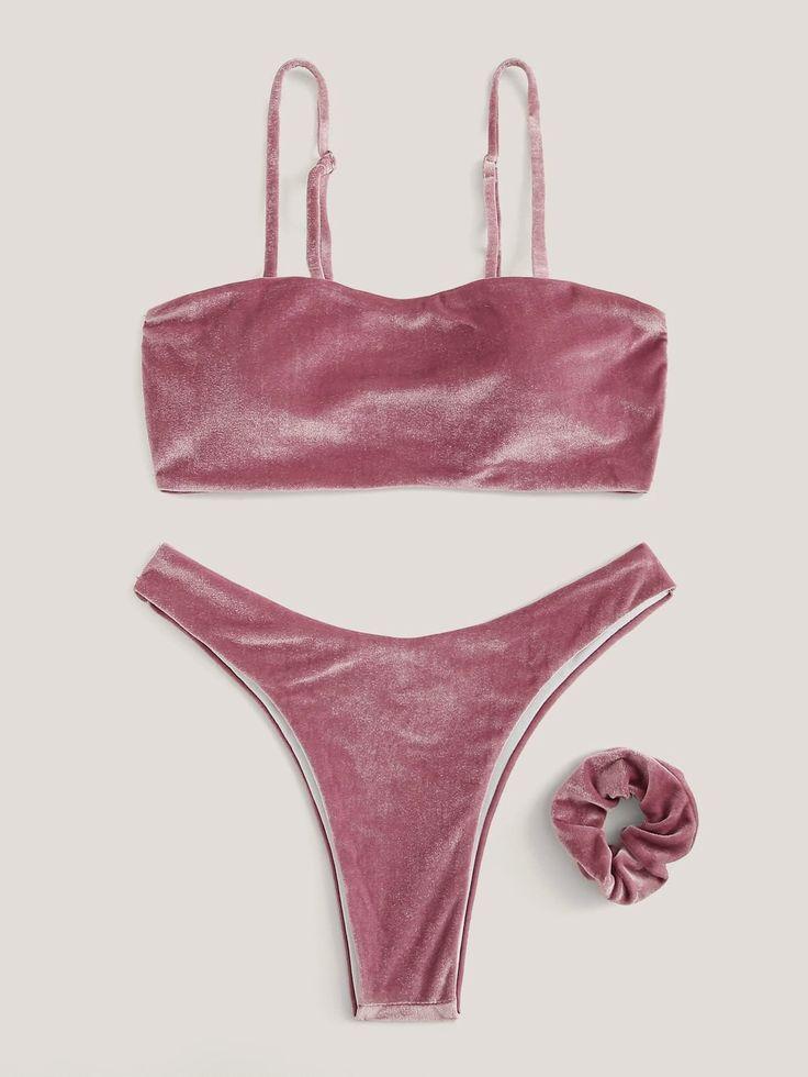 Cami Top Velvet Pink Badeanzug mit hohem Bein Bikini Bottom