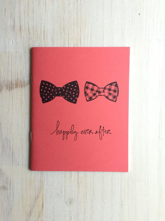 Salmon-Colored Gay Wedding Bowtie Notebook | Happily Ever After