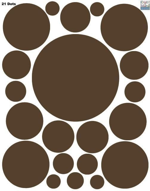 Polka Dot Decals- Chocolate Brown Wall Sticker