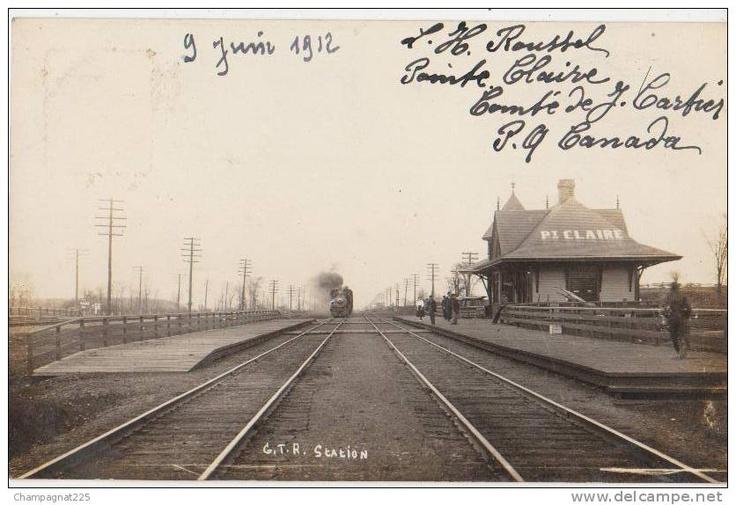 CPA PHOTO CANADA QC POINTE CLAIRE Gare du Chemin de Fer.