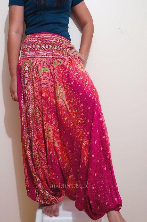 Thai Harem Pants Hippie Boho Elegant Peacock Feather / Aladdin Pants/ Genie Pants (Pink) on Etsy, $20.00