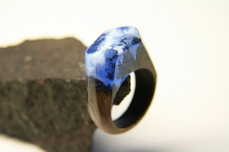 """Winter Natural Wood Resin Ring """"Assiniboine"""", Natural Jewelry, Wooden Ring, Eco Ring, Band Ring, Blue Ecopoxy Resin, Exclusive Ring by NellyRomanova on Etsy"""