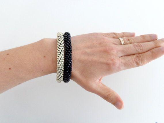 Bracciali argento/Bracciale nero/ Bracciali rigidi di Luthopika