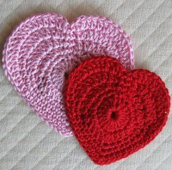 You can make these lovely hearts and use them as window hangings, coasters, or even as applique accents for an afghan or quilt!  Make 2 hearts of the same size and sew them together to make a pocket.  Fill with candy, treats, or a note to a loved one and spread the love on Valentine's Day!