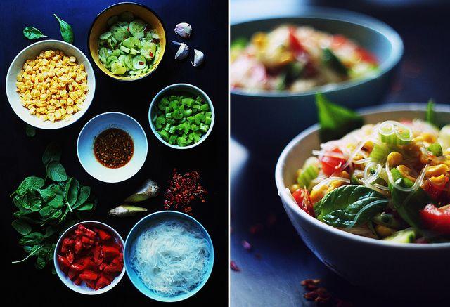 Стеклянная лапша с кукурузой и имбирным соусом | Salatshop ♥ You
