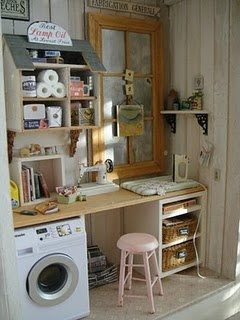 Tiny laundry room.