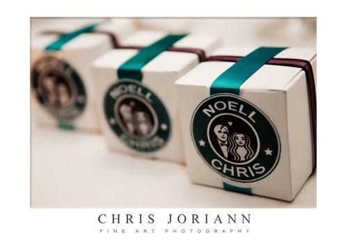 Starbucks wedding favour boxes labels