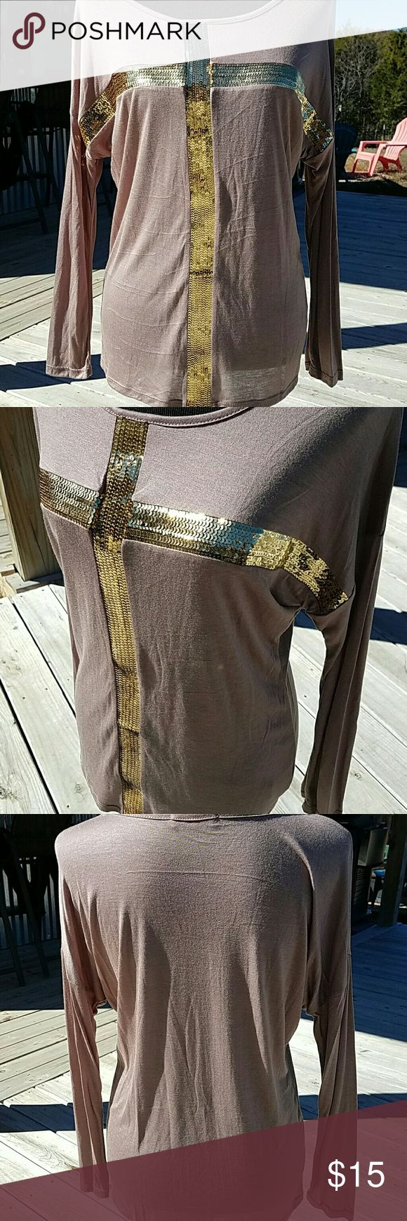 SALE TODAY!! Long Sleeve Top Adorable long sleeve light brown long sleeve top with gold sequin cross.... 95% Rayon and  5% Spandex Tops Tees - Long Sleeve