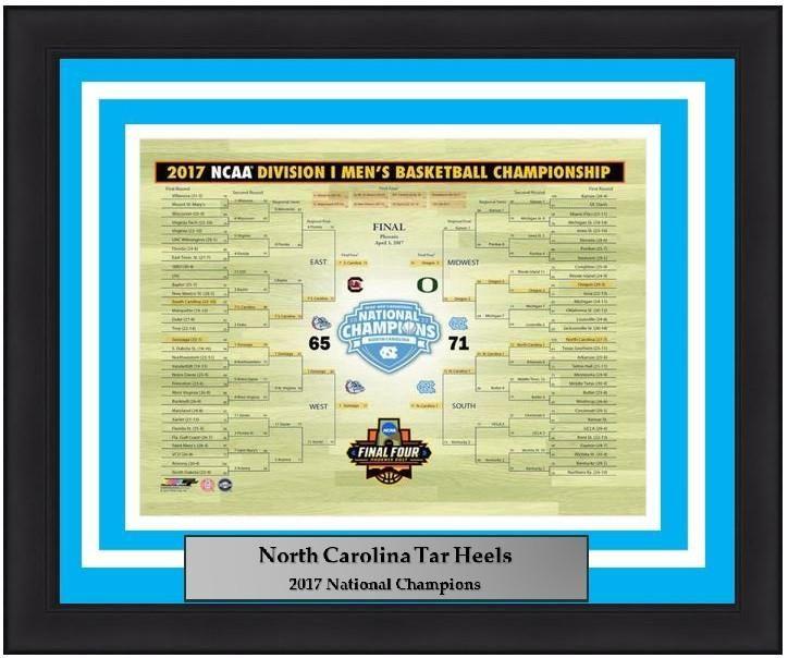"North Carolina Tar Heels 2017 NCAA Tournament Bracket Basketball 8"" x 10"" Framed and Matted Photo"