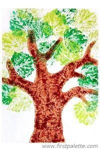 Do the trunk with watercolor and saran wrap , let dry and then cut out, glue down to background and then paint fresh leaves, press, rub = print. Could do summer and fall.