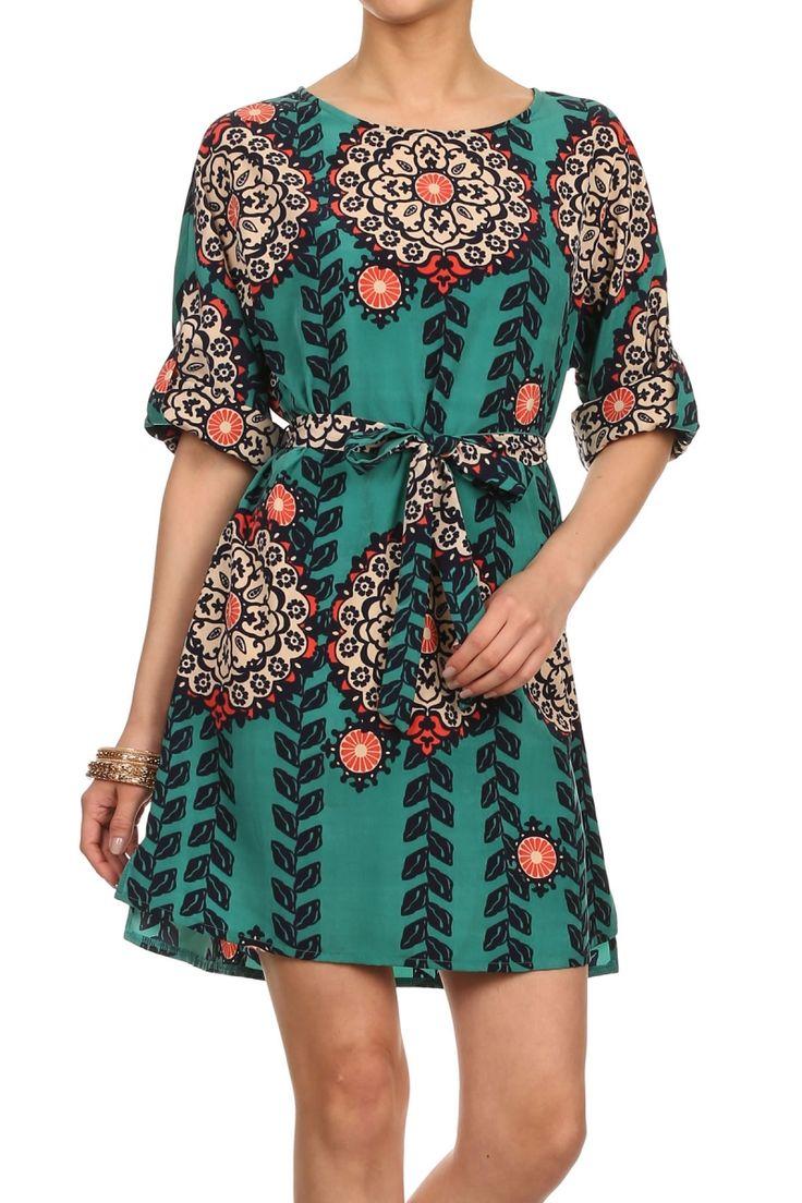 Freeway Aztec Print Belted Dress.
