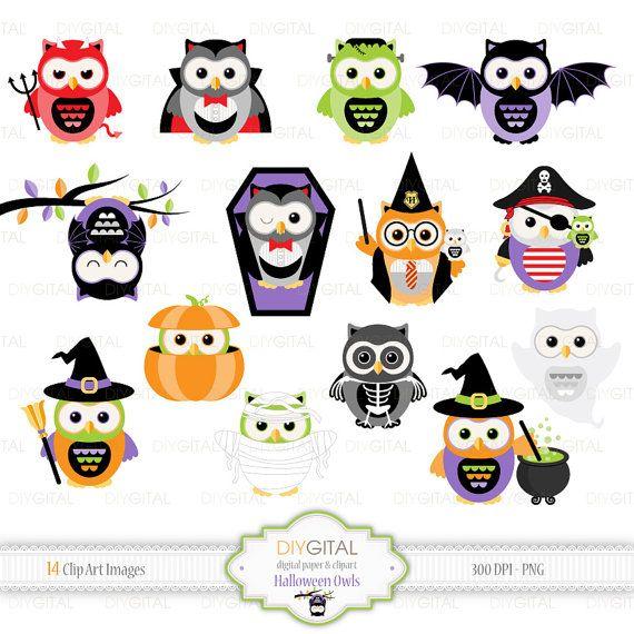 Halloween Owls- 14 cute Halloween Owls -ghost, pirate, vampire, witches, skeleton, Harry Potter, pumpkin, mummy, Frankenstein, devil, coffin