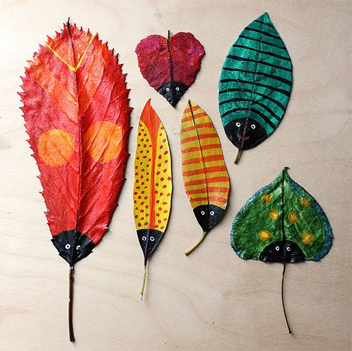 Peindre des feuilles d'automne et les transformer en p'tites bêtes