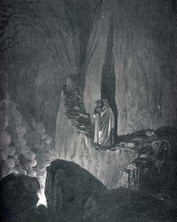"""Inferno Canto XXV: """"Per tutt'i cerchi de lo 'nferno scuri non vidi spirto in Dio tanto superbo, non quel che cadde a Tebe giù da' muri."""""""