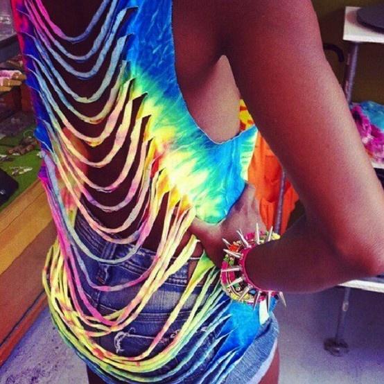Rainbow tie-dye cut up t-shirt!