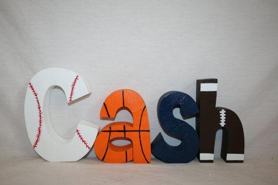 Boy Nursery Letters 4 Wood Letters Sports By