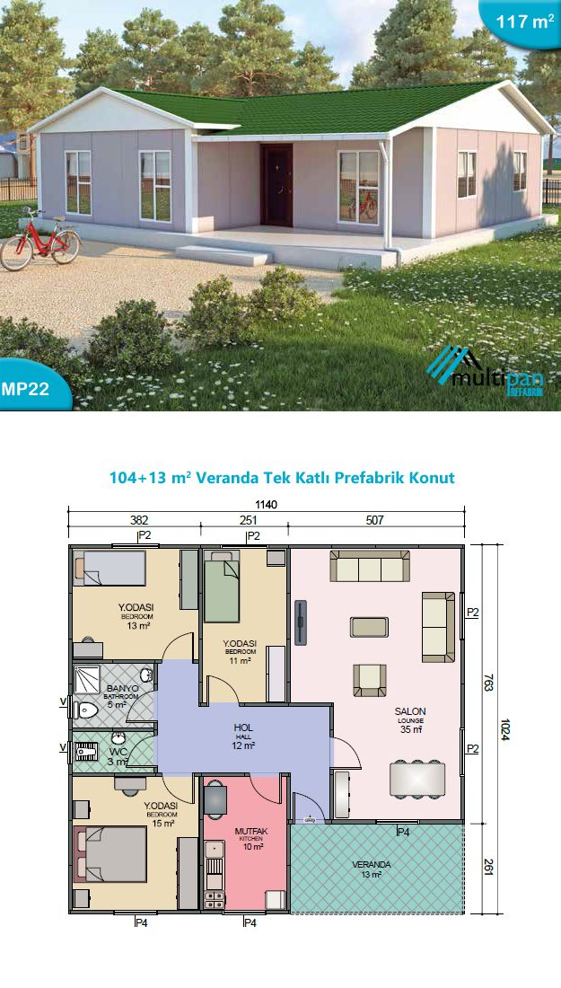 Mp22 104m2 13m2 3 bedrooms 2 bathrooms separate for Two bedroom hall kitchen house plans