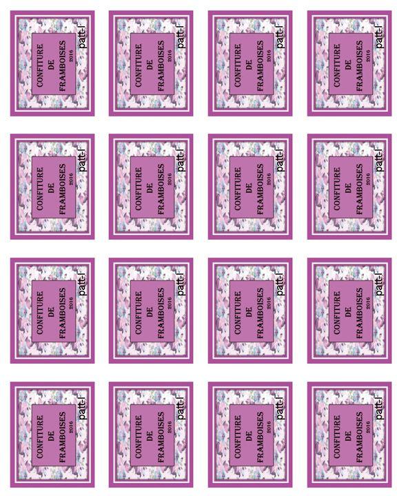 16 étiquettes de confiture de framboises.