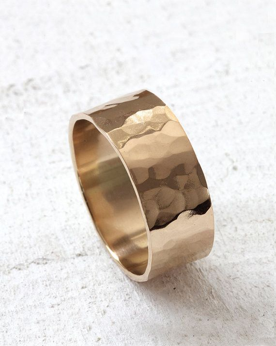 14k Gold Hammered Wide Band Wedding Ring - praxis jewelry