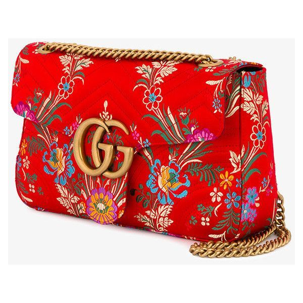 Gucci Red Floral Marmont 2.0 Shoulder Bag ($1,445) ❤ liked on Polyvore featuring bags, handbags, shoulder bags, chain shoulder bag, quilted purses, quilted shoulder bag, gold purse and gucci purse