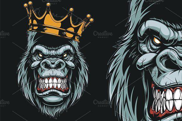 47c744ff277 Ferocious gorilla head by Mark2000 on  creativemarket