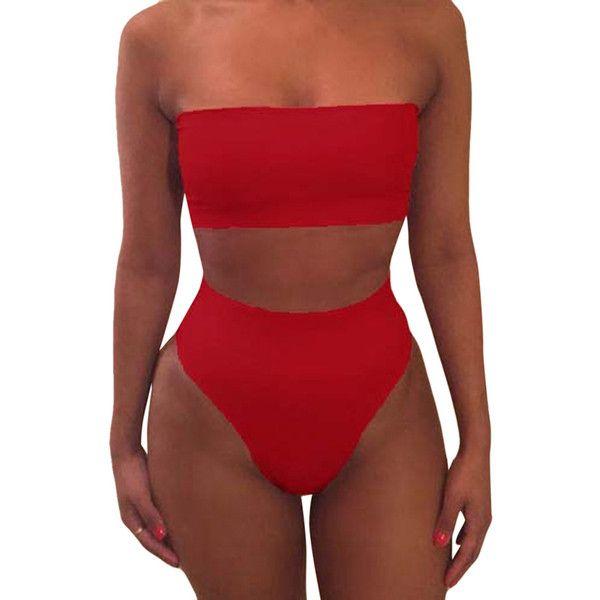 Womens Sexy Plain Bandeau Top&High Waist Bottom Bikini Set Red ($11) ❤ liked on Polyvore featuring swimwear, bikinis, red, bandeau bikini tops, red bandeau top, bandeau tops, red bikini and red high waisted bikini