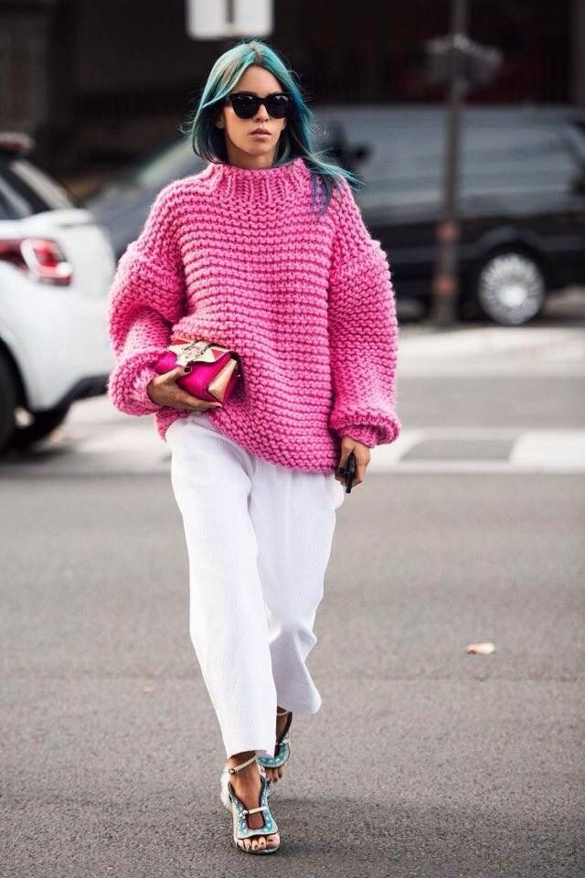#Refreshing pink and white #Oversize sweater