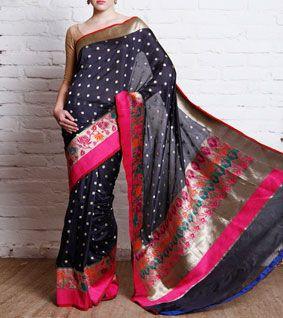 Black Katan Silk Paithani Banarasi Saree