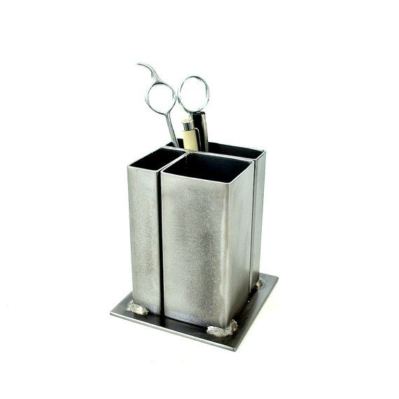 Small Modern Desk Organizer Pencil Holder Etsymetal