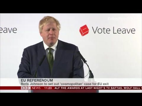 "Boris Johnson barnstorming Brexit speech ""We happy few"""