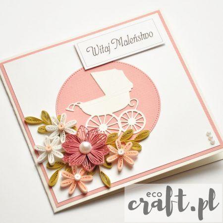 quilling, husking, handmade, DIY, greeting card, paperart, baby, girl, ecocraft.pl