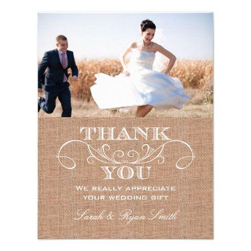 Rustic Burlarp Print Wedding Thank You Cards