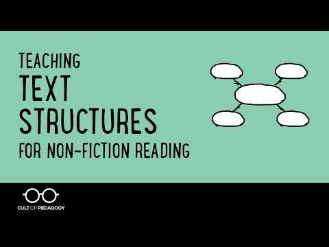This video shows you how to teach students to identify text structures in non-fiction or informational reading. Research shows that when students learn to identify text structures, they understand and retain the material better. To download the graphic organizers shown in this video and read more about the research supporting the explicit teaching of text structures, go to http://www.cultofpedagogy.com/text-st...