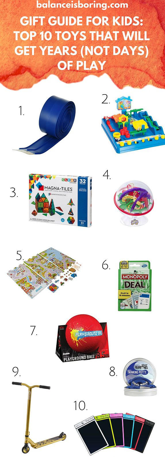 Great toy guide for little and big kids, ages 3-10. Toys that will last and become favorites. What to get this holiday season.