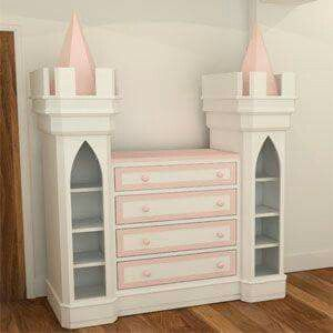 Some real Inspiration for your tiny royalty! You could create this look with an old dresser, two side bookcases and a little added reclaimed wood/crown molding! (this one is from http://www.bdichildrensfurniture.co.uk/)