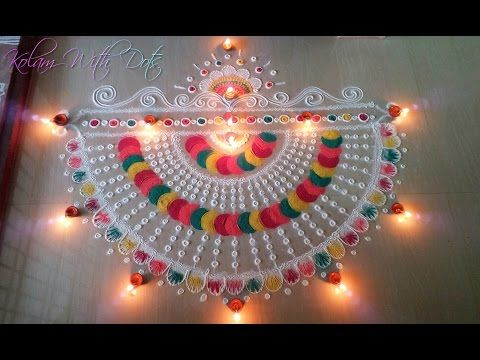 New Rangoli Designs With Multiple Colours - Beautiful Rangoli For Festivals -Rangoli For Diwali! - YouTube